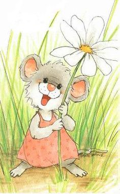 A flower for you my dear friend Have a very blessed day. Animal Drawings, Cute Drawings, Illustration Art, Illustrations, Cute Mouse, Digi Stamps, Suzy, Rock Art, Cute Cartoon