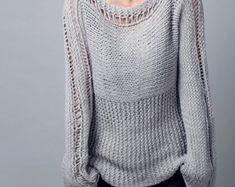 Hand knit sweater woman sweater pullover cropped top by MaxMelody