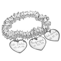 personalised silver wedding coil bracelet by merci maman | notonthehighstreet.com