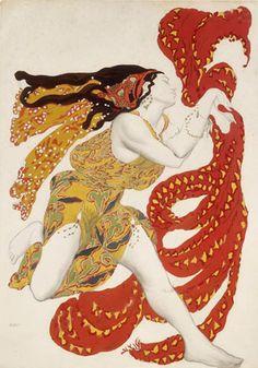 La peinture procède de l'inscription d'une charge pulsionnelle - [Etude de costume pour le ballet Narcisse (Leon Bakst, 1910)]
