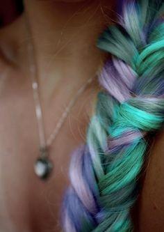 blue and purple fishtail braid