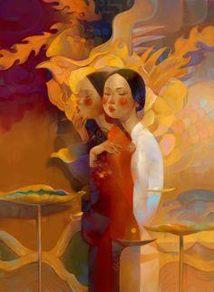 Elegant Figures Inhabit the Surreal Dreamworlds of Thanh Nhàn Nguyễn's Sublime Illustrations