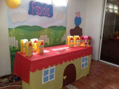 Peppa's house as a table cover. Love it! Just gotta come up with the backdrop. Peppa Pig House, Peppa Pig Car, Piñata Peppa, Cumple Peppa Pig, Third Birthday, Peppa Pig Party Ideas, Peppa Pig Birthday Ideas, Birthday Party Themes, Birthday Cake