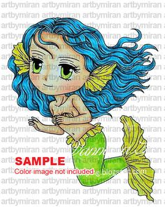 Digital Stamp  Mermaid Maria207 Digi Stamp Coloring by artbymiran