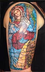 What does stained glass tattoo mean? We have stained glass tattoo ideas, designs, symbolism and we explain the meaning behind the tattoo. Mary Tattoo, See Tattoo, Tattoo Foto, Tattoo Ink, Book Tattoo, Love Tattoos, Body Art Tattoos, Tatoos, Heart Tattoos