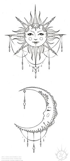 Bohemian Sun and Moon, tattoo design (inked):                                                                                                                                                                                 More