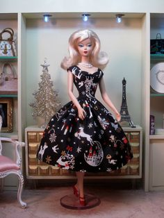 Rockabilly Dress in Holiday Woodland Fantasy by Bellissimacouture