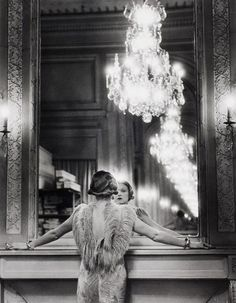 Model looking in large mirror of Paris fashion designer Molyneux / Alfred Eisenstaedt / Gelatin Silver Print, 1932 / Museum of the International Center of Photography