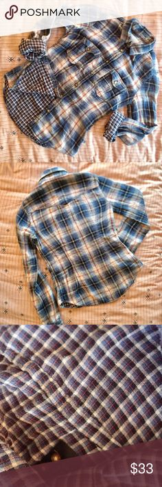 "H&M Double Fabric Flannel Buttondown Shirt A super chic Buttondown in a light gauzy flannel material, with one plaid design outside and a different inside, visible when you roll up the sleeves! All buttons in tact, and spare still attached on inside tag. Fits like a 0/2, true to size. Worn gently, no stains, rips, pulls. From H&M's ""L.O.G.G"" line. H&M Tops Button Down Shirts"