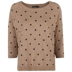 Mango Polka-dot wool-blend sweater (140 NOK) ❤ liked on Polyvore featuring tops, sweaters, shirts, jumpers, brown, sale, 3/4 sleeve sweaters, brown shirts, dot shirt and 3/4 length sleeve shirts
