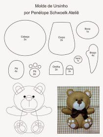Risultati immagini per molde cabeça urso Felt Diy, Felt Crafts, Fabric Crafts, Sewing Crafts, Sewing Projects, Felt Patterns, Craft Patterns, Felt Templates, Felt Christmas Ornaments