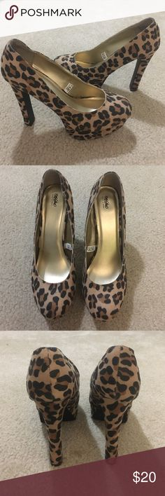 Cheetah Print High Heals 4 inch heals, worn once. Perfect condition Shoes Heels
