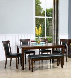 Buy Delmonte Solid Wood Six Seater Dining Set with Bench in Walnut Finish by Online - Contemporary 6 Seater Dining Sets - Dining - Furniture - Pepperfry Product Dining Set With Bench, Dining Sets, Dining Bench, 4 Seater Dining Table, Walnut Finish, Dining Furniture, Solid Wood, It Is Finished, Contemporary