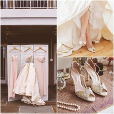 Elegant Wedding Gown and Beaded Shoes