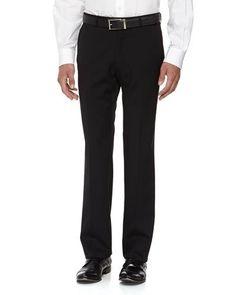 N2LSE Neiman Marcus Classic-Fit Skinny Wool Dress Pants, Black