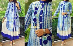 GLIMPSE GLACIER  !   Soft Cotton umbrella off white sleeveless Kurti with a tie and dye 3/4 th sleeve overlay beautified with threadwork . Sizes - L  XL  XXL  Price - 1999 INR   Kindly email us to yellowkurti@gmail.com or private message us here on Facebook for Orders ! 19 June 2016