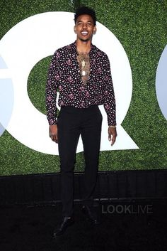 Nick Young wearing Saint Laurent Star Print Shirt
