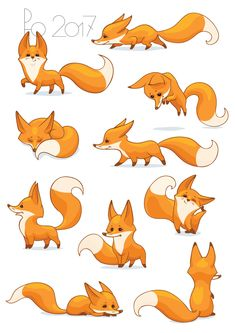 cute fox Contest Entry for Fox Illustration - New 10 poses/positions Cute Fox Drawing, Cute Animal Drawings, Animal Sketches, Kawaii Drawings, Cute Drawings, Drawing Sketches, Drawing Drawing, Drawing Tips, Fuchs Illustration