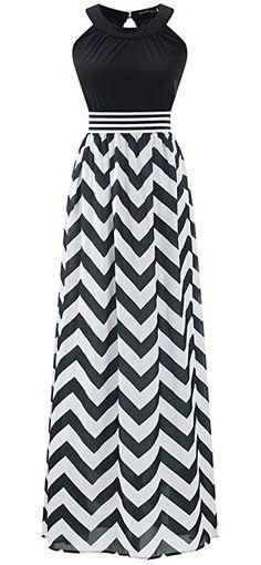 Wantdo Women's Boho Beach Dress Maxi Dress Plus Size with Wave Striped 20 Plus