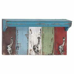 """Distressed wall shelf with a multicolor finish and 3 metal hooks.  Product: Wall shelfConstruction Material: Metal and woodColor: MultiFeatures: Three hooksDimensions: 6"""" H x 16"""" W x 4.5"""" D"""