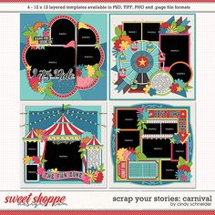 Cindy's Layered Templates - Scrap Your Stories: Carnival by Cindy Schneider Scrapbook Templates, Scrapbook Sketches, Photo Drop, Hanging Photos, Digital Scrapbooking, Scrapbooking Ideas, Layout Template, Amusement Park, Page Layout