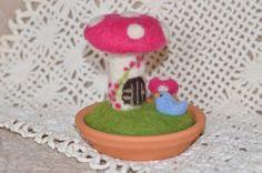 Miniature Toadstool~Mushroom, Teeny Bird, Needle Felted inClay Saucer OOAK, Handmade on Etsy, $35.00