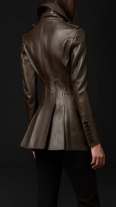 Bonded Leather Jacket | Burberry PORSUM - gorgeous pleats in back