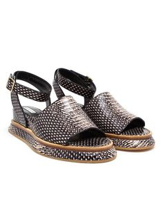 DRIES VAN NOTEN | Snake Effect Sandals with Ankle Strap