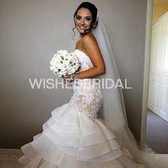 Wishesbridal Sleeveless Sweetheart Court Train Lace Trumpet #Mermaid Zip With Button #WeddingDress Awb0050