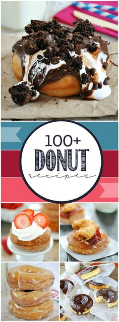 Donuts Over 100 delicious donut recipes all in one post. Delicious Donuts, Delicious Desserts, Just Desserts, Yummy Food, Donut Recipes, Baking Recipes, Dessert Recipes, Breakfast Recipes, Deco Cafe