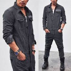 Bottoms :: Workwear Vintage Denim Jumpsuit-Jeans 97 - Mens Fashion Clothing For An Attractive Guy Look