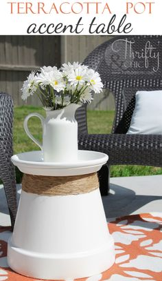 Terracotta pot recycled into accent table: great for outdoor use