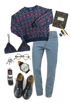 """the breakfast club"" by julietteisinthe80s on Polyvore featuring American Apparel, Dr. Martens, Miu Miu and Motorola"