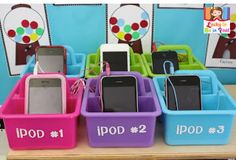 iPod listening station: ask parents to donate old iPods or iphones after they've updated theirs