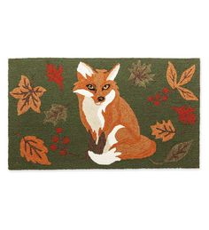 Indoor/Outdoor Rug with Fox and Fall Leaves | Small Accent Rugs