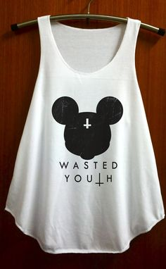 Mickey Mouse Wasted Youth Clothing Rock Punk Shirt Tank Top Vest Women Shirts Size S and M