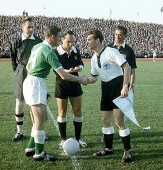 West Germany 2 N. Ireland 2 in 1958 in Malmo. The captains, Danny Blanchflower and Hans Schafer, meet before the Group 1 game at the World Cup Finals.