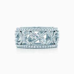 ティファニー エンチャント スクロール バンドリング(9MM)ダイヤモンド プラチナ