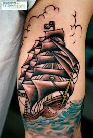 Cute ship tattoo