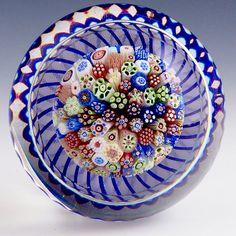 "Antique Baccarat - Approx 1850, Closepack mushroom w/blue and white torsade. 3""w x 1 7/8""t, 20 oz, - #0565"