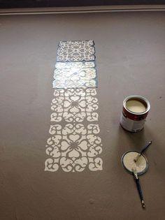 Rosa Beltran Design: DIY STENCIL PAINTED FLOOR ROUND-UP (AKA FAUX CEMENT TILE)