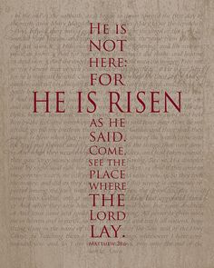 He Is Risen Cross Easter Print Matthew by DelightThyselfDesign