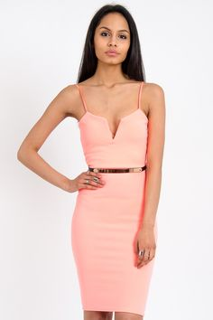 Ruth Plunge Front Belted Bodycon Dress In Neon Coral
