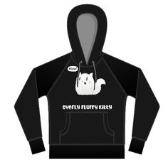 Overly Fluffy Kitty Hoodie Black with Grey Trim