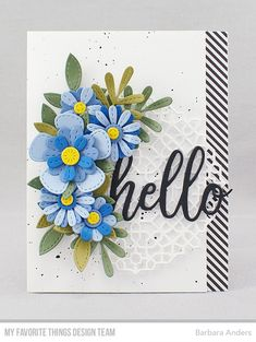Handmade card from Barbara Anders featuring Hello Die-namics #mftstamps