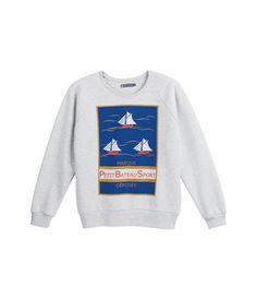 Women's silkscreen print sweatshirt in brushed fleece Beluga grey - Petit Bateau (I want to pretend I have some knowledge of sailing)