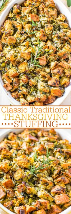 Classic Traditional Thanksgiving Stuffing - Nothing frilly or trendy. Classic, amazing, easy, homemade stuffing that everyone loves! Simple ingredients with stellar results! It'll be your new go-to recipe! Perfect for Thanksgiving. Thanksgiving Stuffing, Thanksgiving Traditions, Thanksgiving Sides, Thanksgiving Dinner Recipes, Thanksgiving 2017, Homemade Stuffing With Sausage, Traditional Turkey Stuffing, How To Make Stuffing, Traditional Thanksgiving Dinner Menu
