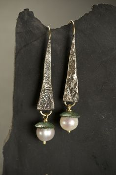 Strega Earrings-reticulated silver, 18KY gold, pearls