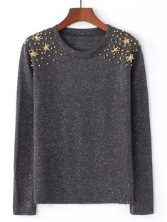 SheIn offers Beaded Detail Knit Sweater & more to fit your fashionable needs. Diy Fashion, Fashion Outfits, Macrame Dress, Pullover Designs, T Shirt Diy, Blouse Styles, Sweater Fashion, Pulls, Long Sleeve Sweater