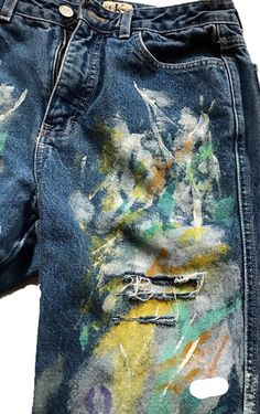 Womens size 9 jeans  hand painted jeans  street style for